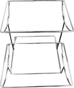 Table Riser 1/2GN 2-Tier Off-Set Dish Stand Chrome